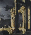 An Architectural Capriccio With Figures Amongst Ruins Under A Stormy Night Sky - Leonardo Coccorante