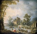 A Mill Scene With Women Washing Clothes In A River, A Boy Fishing Nearby - Jean-Baptiste Leprince