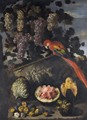 A Still Life Of Grapes, Melons And Figs With A Red Macaw And A Starling Upon A Stone Relief - Neapolitan School