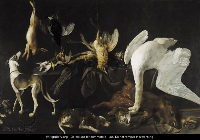 Still Life Of Dead Game Upon A Table, Including A Swan, A Bittern, Boar, Peacock And Kingfisher, Various Game Birds And A Hare Together With Three Hounds - Elias Vonck