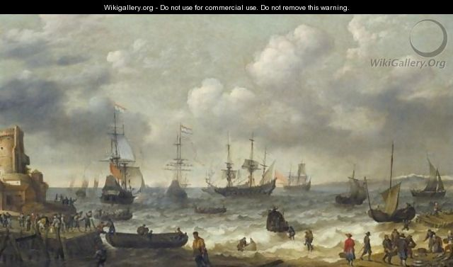 A Coastal Scene With Numerous Figures On The Shore, A Dutch Man O