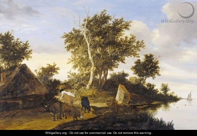 River Landscape With Herders And Cattle - Jacob Salomonsz. Ruysdael
