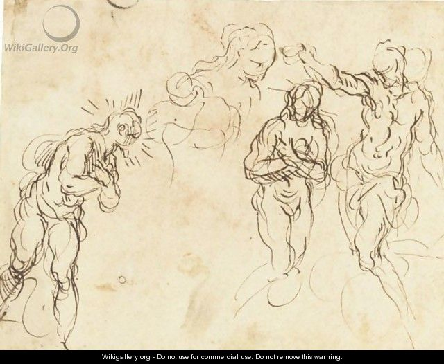 Sheet Of Figure Studies For A Baptism Of Christ - Jacopo d