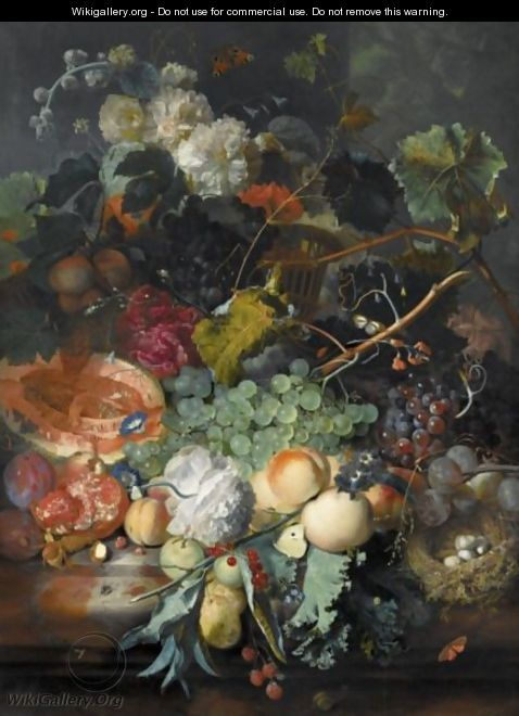 Still Life Of Fruit Upon A Marble Ledge, A Bird
