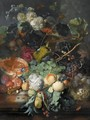Still Life Of Fruit Upon A Marble Ledge, A Bird's Nest To The Right And A Basket Of Flowers Above, Insects Throughout - Jan Van Huysum