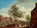 Amsterdam, A View On The Keizersgracht From The Westermarkt, With The Westerhal On The Right, Elegant Figures Conversing In The Foreground, With Other Figures And A Horse-Drawn Carriage Crossing A Bridge Beyond - Isaak Ouwater