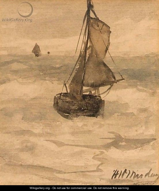 A Bomschuit At Sea - Hendrik Willem Mesdag