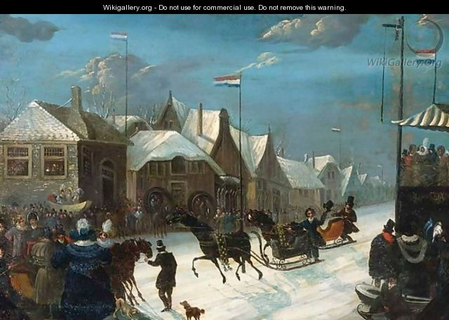 Horse-Sledges In A Winter Landscape - Dutch School