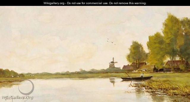 A Polder Landscape With Windmill - Fredericus Jacobus Van Rossum Chattel