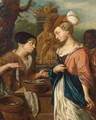 A Woman Selling Herring To An Elegant Lady And Her Servant, A Fountain Beyond - (after) Jacob Toorenvliet