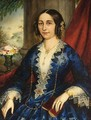 Portrait Of An Elegant Lady, Seated Three-Quarter Length, Wearing A Blue Dress - Italian School