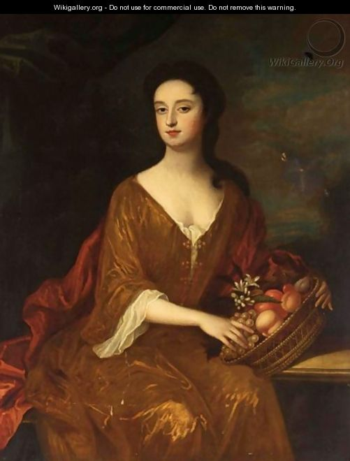 A Portrait Of A Lady, Seated Three-Quarter Length, Wearing A Red Dress And White Blouse, Holding A Basket With Various Fruits - (after) William Wissing Or Wissmig