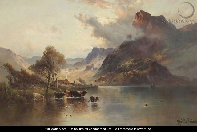 Cattle Watering At Sunset - Alfred de Breanski