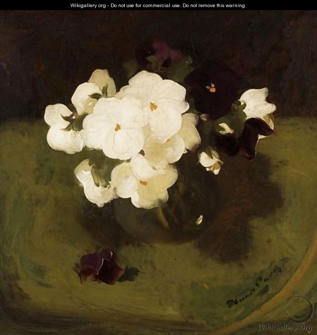 Still Life With White And Purple Pansies - James Stuart Park