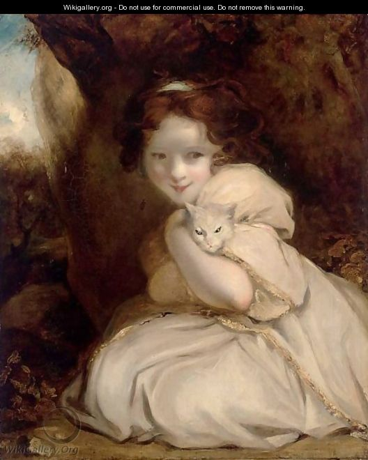 A Little Girl With A Cat - English School