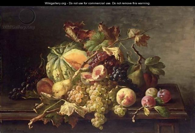 A Still Life With Grapes, Peaches, Prunes And A Pumpkin All On A Wooden Ledge - Franz Hohenberger