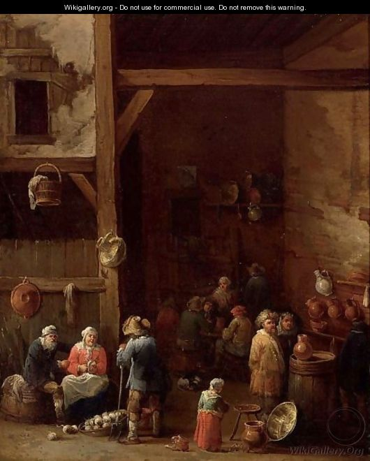 An Interior Of An Inn With A Woman Cleaning Turnips, A Little Girl Standing Near An Earthenware Pot - (after) David The Younger Teniers