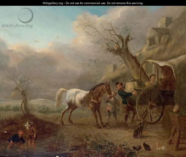 A Landscape With Travellers Unloading Their Wagon Near A Barn - (after) Philips Wouwerman