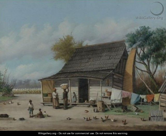 Farm With Cotton Pickers - William Aiken Walker