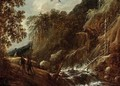 A Wooded River Landscape With Figures Conversing On A Path Near A Waterfall - Francois Van Knibbergen
