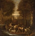 Spaniels And Other Hounds In A Park Setting Next To A Fountain - Adriaen Cornelisz. Beeldemaker