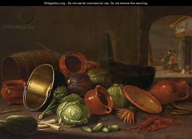 A Still Life With Earthenware Pots, A Barrel, Cabbages, Carrots, And Gherkins In The Foreground - Floris Gerritsz. van Schooten