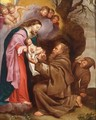 Madonna And Child Together With Saint Francis And Saint Dominic - Flemish School