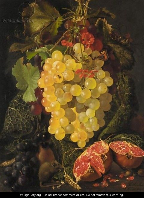 Still Life Of Fruit And A Field Mouse - Theude Gronland