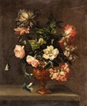 Still Life Of Roses, Paeonies, And Other Flowers In A Vase On A Ledge - (after) Emily Stannard