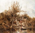 River Scene With A Rowing Boat Near A Cottage - William Joseph Caesar Julius Bond