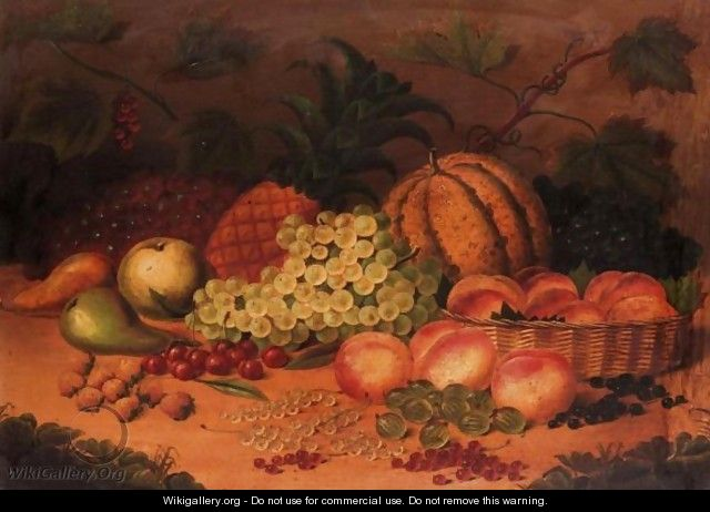 Still Life Of Fruit With Peaches In A Basket - (after) William Jones Of Bath