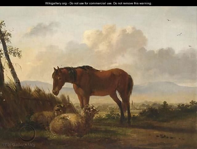 A Horse And Sheep In A Landscape - Pieter Gerardus Van Os