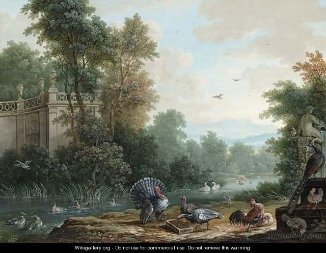 Mountainous Landscape With Turkeys, A Hen And Chickens, A Peacock And Ducks In A Pool - Nuremberg School