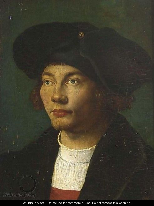 A Portrait Of A Gentleman, Head And Shoulders, Wearing A Black Coat And Hat - (after) Durer or Duerer, Albrecht