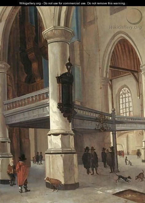 A Church Interior With Figures And Dogs - (after) Hendrick Van Vliet