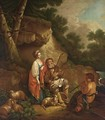 A Shepherd And A Young Boy Playing Music With An Elegant Lady Listening In A Rocky Wooded Landscape - German School