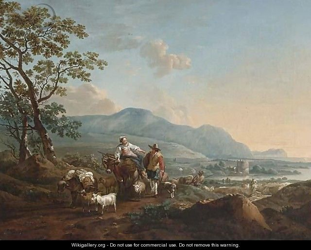 An Extensive River Landscape With Shepherds Driving Their Herd In The Foreground - (after) Nicolaes Berchem