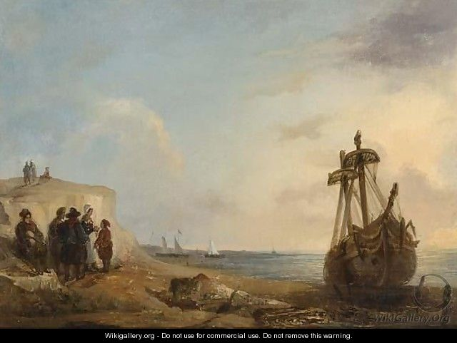 Fisherfolk By A Beached Boat - Wijnandus Johannes Josephus Nuyen