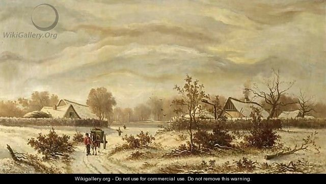 A Winterlandscape With Woodgatherers On A Path - G.J. Schneider