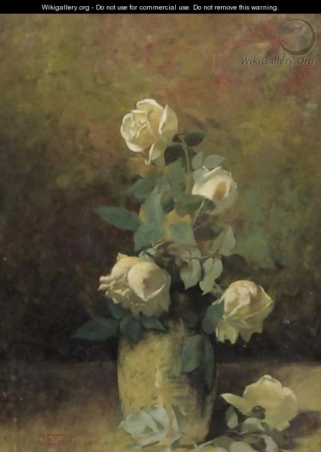 Still Life With Yellow Roses In A Vase - Charles Ethan Porter