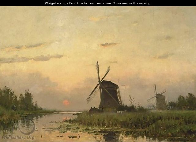 Windmills At Dawn In A Summer Landscape - Petrus Paulus Schiedges