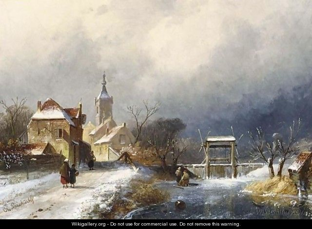 A Winter Landscape With Figures Near A Village - Charles Henri Leickert