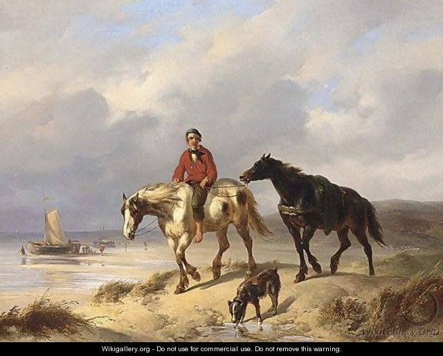 A Fisherman On Horseback In The Dunes - Wouterus Verschuur