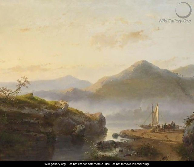 Figures Unloading A Sailing Vessel In A Mountainous Landscape - Andreas Schelfhout