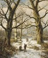 Figures On A Wintry Country Lane, A Village In The Distance - Hendrik Barend Koekkoek