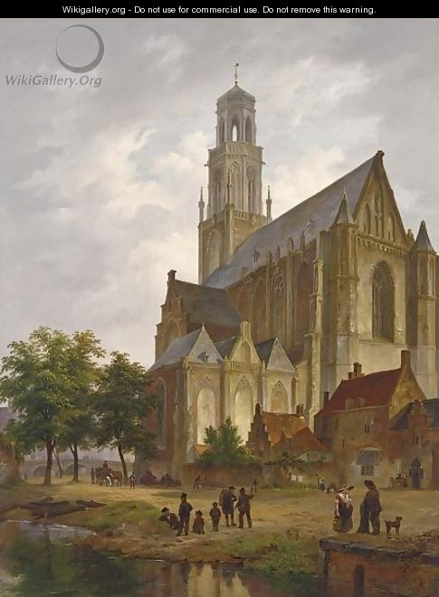 Figures Near A Church In A Dutch Town - Bartholomeus Johannes Van Hove