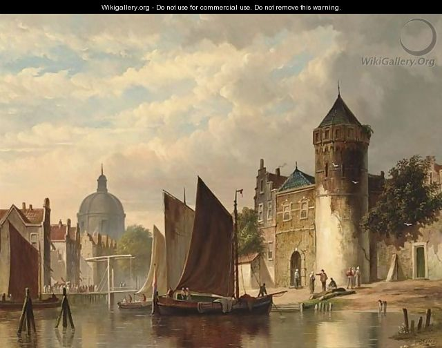 Moored Barges In A City Canal - Pieter Gerard Vertin