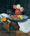 Still Life With Roses Fruit And Wine Glasses - George Leslie Hunter