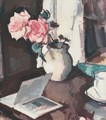Pink Roses And An Open Book - Samuel John Peploe