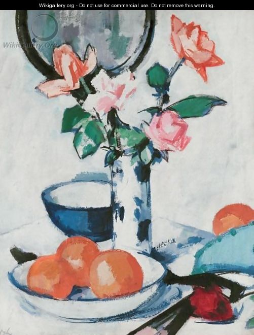 Still Life Of Roses And Oranges - Samuel John Peploe